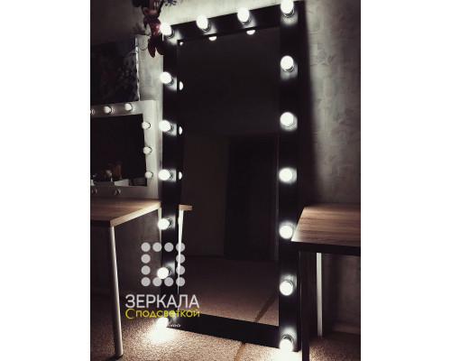 Гримерное зеркало с подсветкой из массива сосны черное 180х80