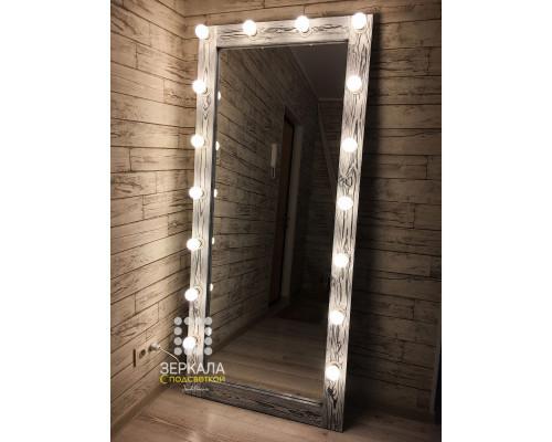 Гримерное зеркало с подсветкой из массива дерева 180х80 Чикаго