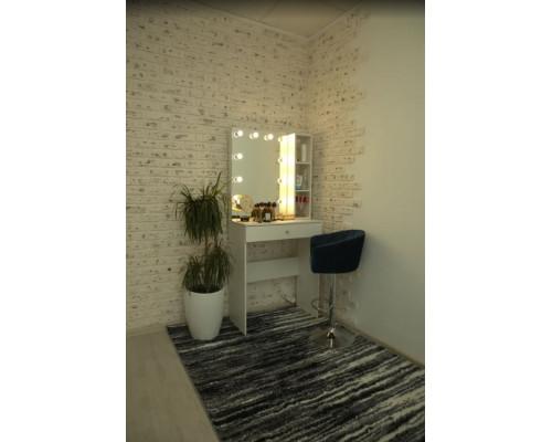 """Туалетный столик """"Диана"""" 80х80 с безрамным зеркалом 80х60 и стеллажем"""
